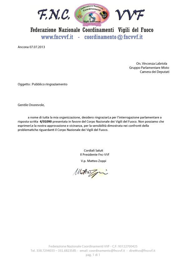 F n c vvf federazione nazionale coordinamenti vigili for Gruppo misto camera